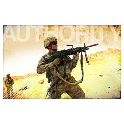 Military Grunge Poster: Authority. A soldier firin Poster