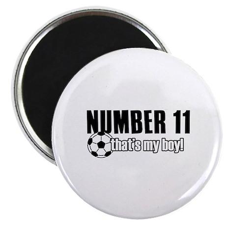 "Proud soccer parent of number 11 2.25"" Magnet (10"
