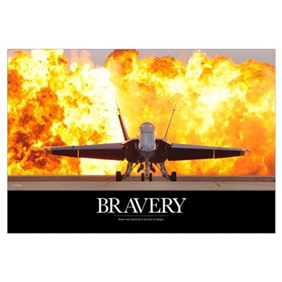 Military Motivational Poster: Brave Men Canvas Art