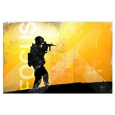 US Army Grunge Poster: Focus. U.S. Army soldier se Poster