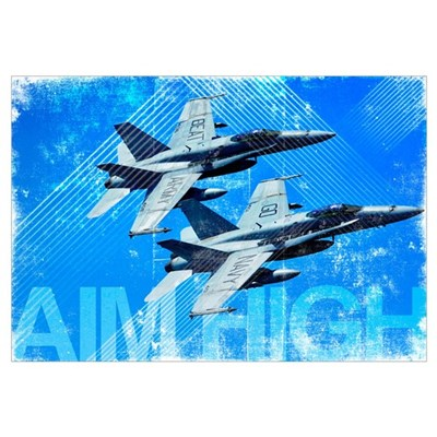 Military Grunge Poster: Aim High. Two F/A-18C Horn Framed Print