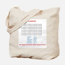 Cure Diabetes Word Search Tote Bag