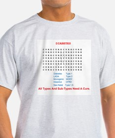 Cure Diabetes Word Search T-Shirt