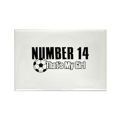 Proud soccer parent of number 14 Rectangle Magnet