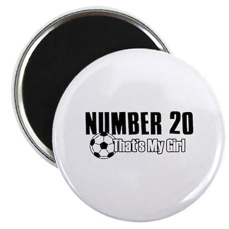 "Proud soccer parent of number 20 2.25"" Magnet (100"