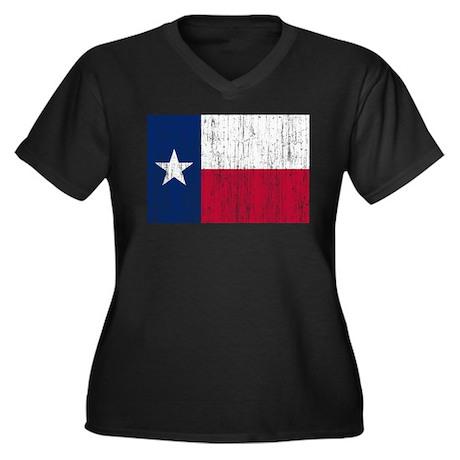 Texas Flag Women's Plus Size V-Neck Dark T-Shirt