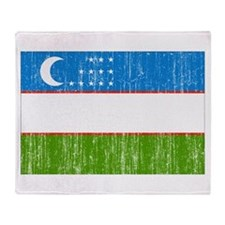 Uzbekistan Flag Throw Blanket