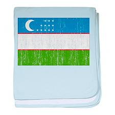 Uzbekistan Flag baby blanket