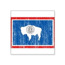 "Wyoming Flag Square Sticker 3"" x 3"""