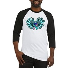 Thyroid Cancer Heart Wings Baseball Jersey