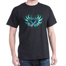 Thyroid Cancer Heart Wings T-Shirt