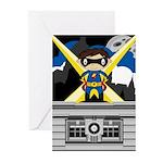 Superhero Boy on Rooftop Greeting Cards (Pk of 20)