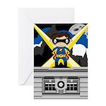 Superhero Boy on Rooftop Greeting Card