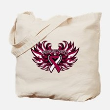 Throat Cancer Heart Wings Tote Bag