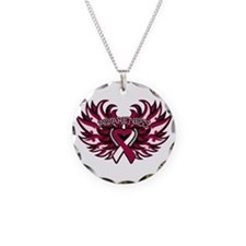 Throat Cancer Heart Wings Necklace