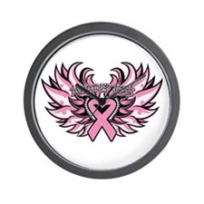 Breast Cancer Heart Wings Wall Clock