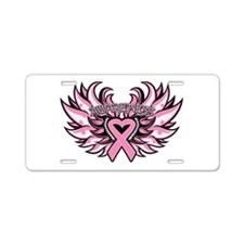 Breast Cancer Heart Wings Aluminum License Plate