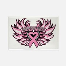 Breast Cancer Heart Wings Rectangle Magnet