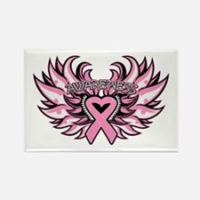 Breast Cancer Heart Wings Rectangle Magnet (10 pac