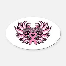 Breast Cancer Heart Wings Oval Car Magnet
