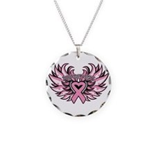 Breast Cancer Heart Wings Necklace