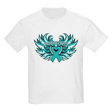 Ovarian Cancer Heart Wing T-Shirt