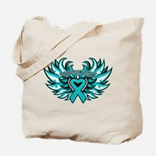 Ovarian Cancer Heart Wing Tote Bag