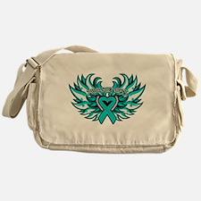 Ovarian Cancer Heart Wing Messenger Bag