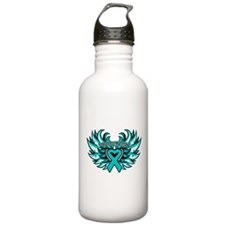 Ovarian Cancer Heart Wing Sports Water Bottle