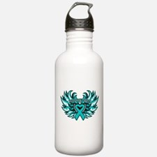 Ovarian Cancer Heart Wing Water Bottle