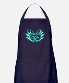 Ovarian Cancer Heart Wing Apron (dark)