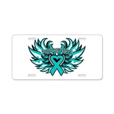 Ovarian Cancer Heart Wing Aluminum License Plate