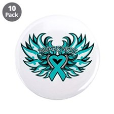 """Ovarian Cancer Heart Wing 3.5"""" Button (10 pack)"""