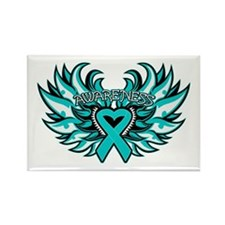 Ovarian Cancer Heart Wing Rectangle Magnet