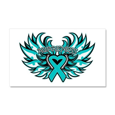 Ovarian Cancer Heart Wing Car Magnet 20 x 12