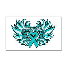 Ovarian Cancer Heart Wing Car Magnet 20 x 12