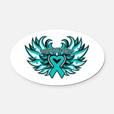 Ovarian Cancer Heart Wing Oval Car Magnet