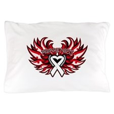 Lung Cancer Heart Wings Pillow Case