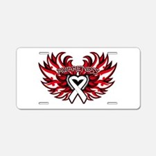 Lung Cancer Heart Wings Aluminum License Plate