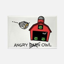 Angry Owl Rectangle Magnet