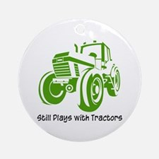 Green Tractor Ornament (Round)