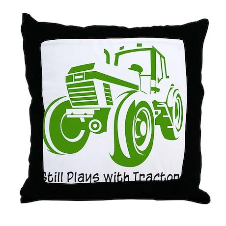 Green Tractor Throw Pillow