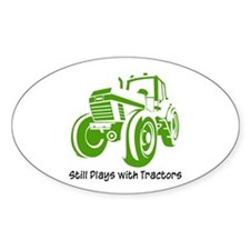 Green Tractor Oval Decal