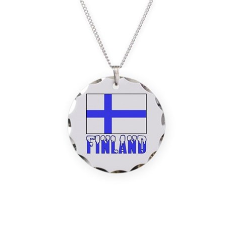 Finland Flag Name Snow Necklace Circle Charm