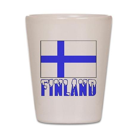 Finland Flag Name Snow Shot Glass