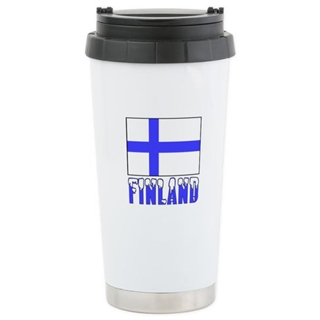 Finland Flag Name Snow Stainless Steel Travel Mug