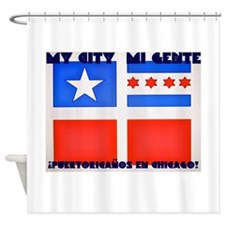 Old Puerto Rican flag with Chicago flag Shower Cur