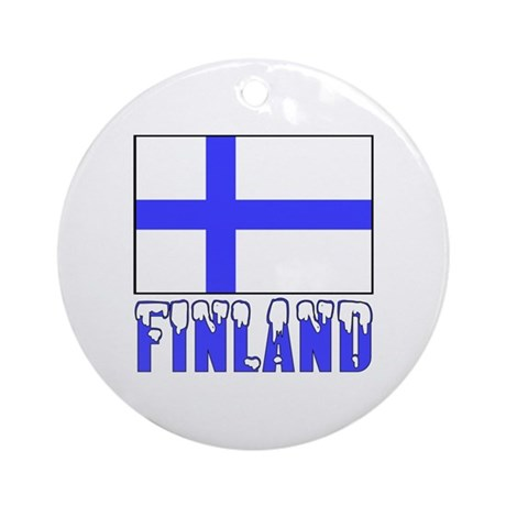 Finland Flag Name Snow Ornament (Round)