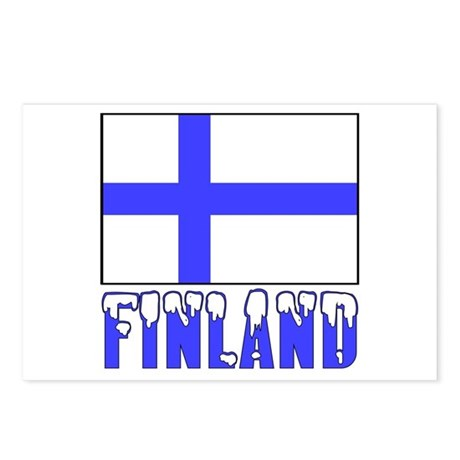Finland Flag Name Snow Postcards (Package of 8)