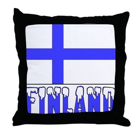 Finland Flag Name Snow Throw Pillow